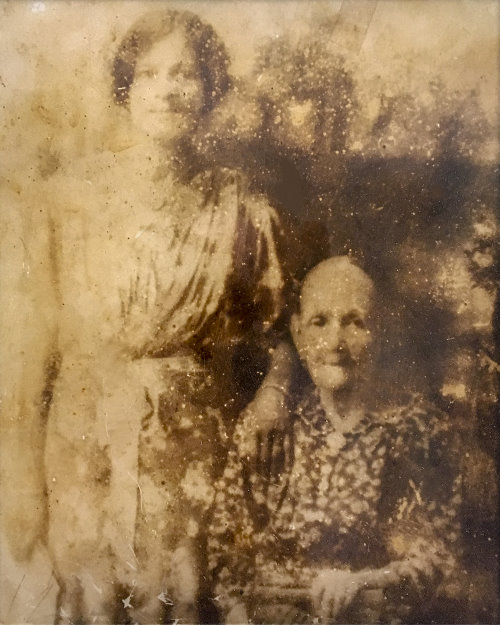 Photo of my great grandmother, Mary Bell (sitting) and my grandmother, Rose Batson (standing), daughter of Mary Bell.