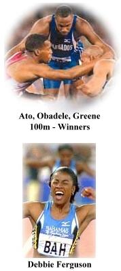 Ato Boldon, Obadele Thompson, and Maurice Greene, Debbie Ferguson
