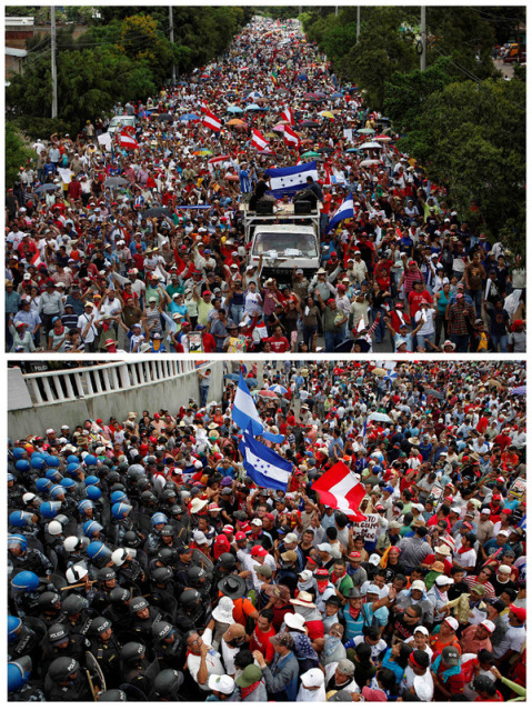 Hundreds of thousands of anti-coup Hondurans have the Toncontin International Airport flanked on both ends