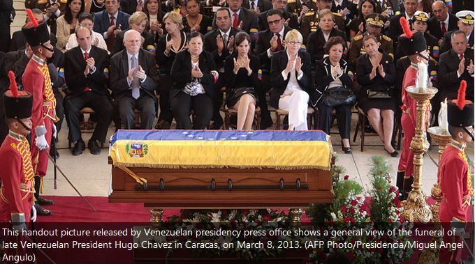 This handout picture released by Venezuelan presidency press office shows a general view of the funeral of late Venezuelan President Hugo Ch�vez in Caracas, on March 8, 2013. (AFP Photo/Presidencia/Miguel Angel Angulo)