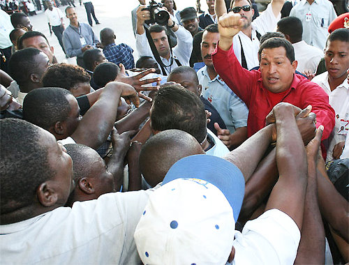 Hugo Chávez during a visit to Haiti in March 2007