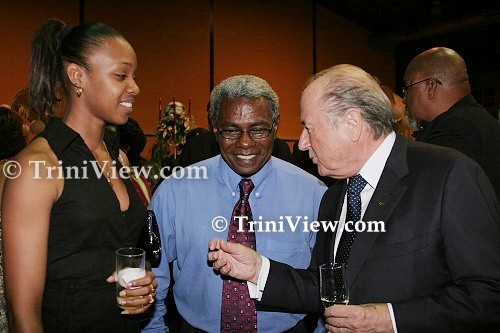 LEFT: Jizelle Salandy, her Manager Boxu Potts and President of FIFA Sepp Blatter